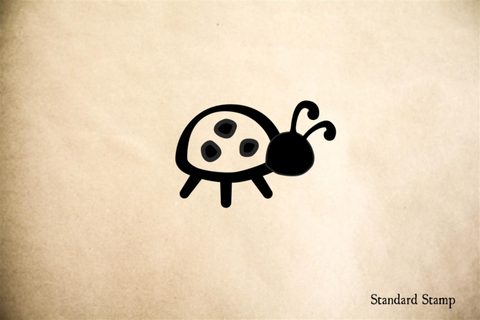 Lady Bug Cartoon Rubber Stamp