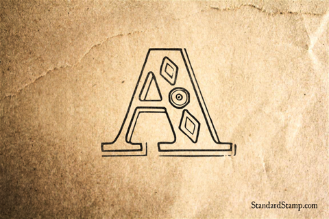 Letter A Diamond Alphabet Rubber Stamp