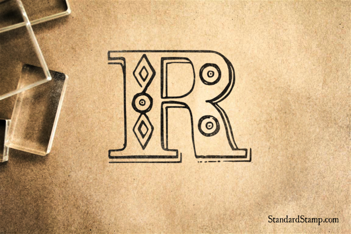 Letter R Diamond Alphabet Rubber Stamp