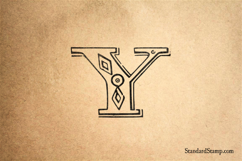 Letter Y Diamond Alphabet Rubber Stamp