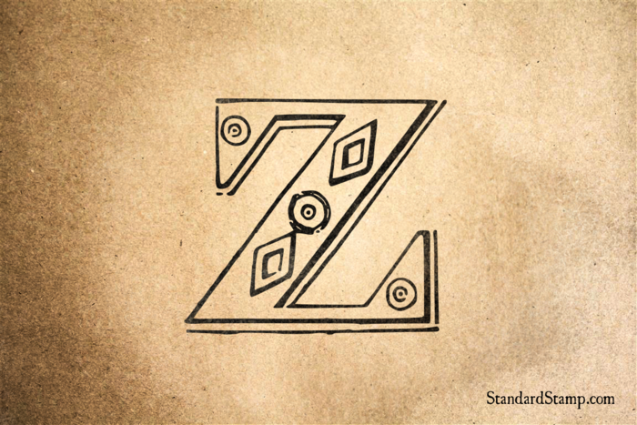 Letter Z Diamond Alphabet Rubber Stamp
