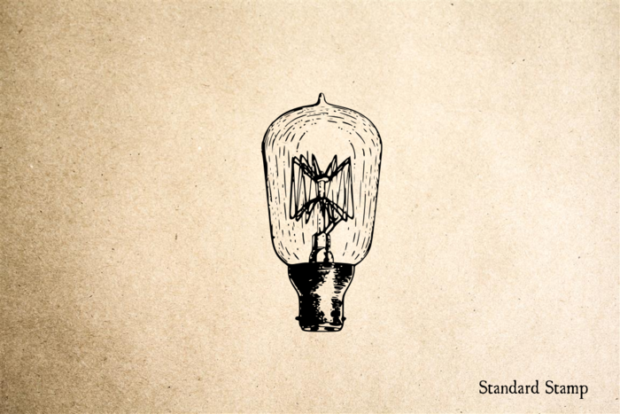 Lightbulb Vintage Rubber Stamp
