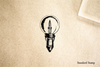 Lightbulb Vintage Round Rubber Stamp