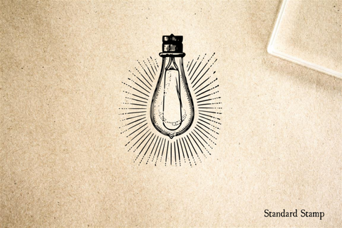 Lightbulb with Rays Rubber Stamp