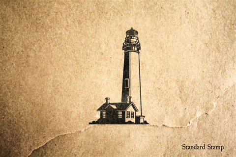Lighthouse with Keeper Cottage Rubber Stamp