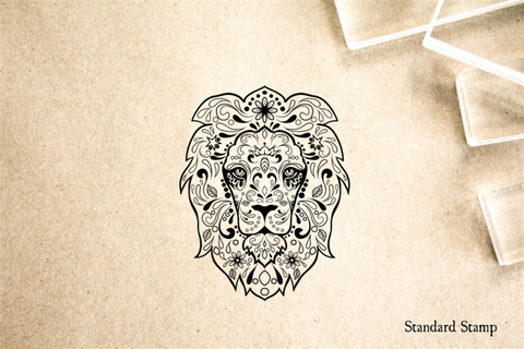 Lion Sugar Skull Rubber Stamp