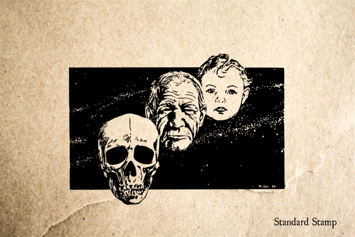 Man Child Skull Rubber Stamp