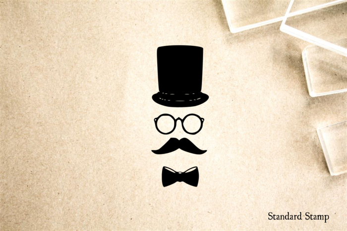 Tophat Glasses and Mustache Rubber Stamp