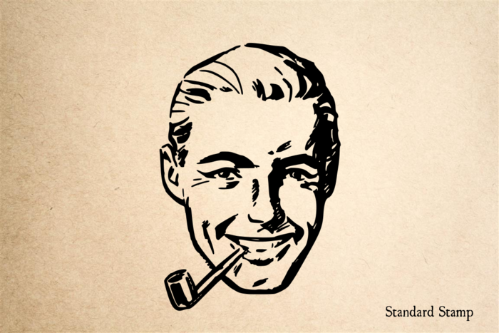 Man with Pipe Rubber Stamp