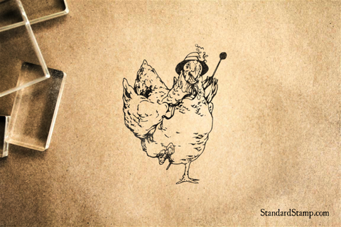 Marching Chicken Rubber Stamp