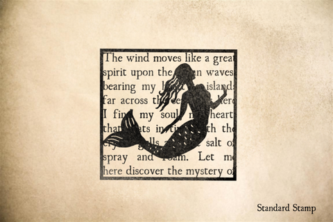 Mermaid on Seashore Text Rubber Stamp