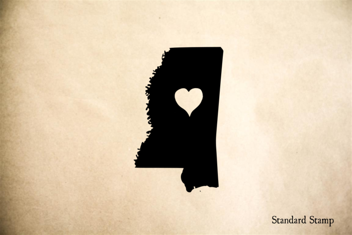 Mississippi with Heart Rubber Stamp