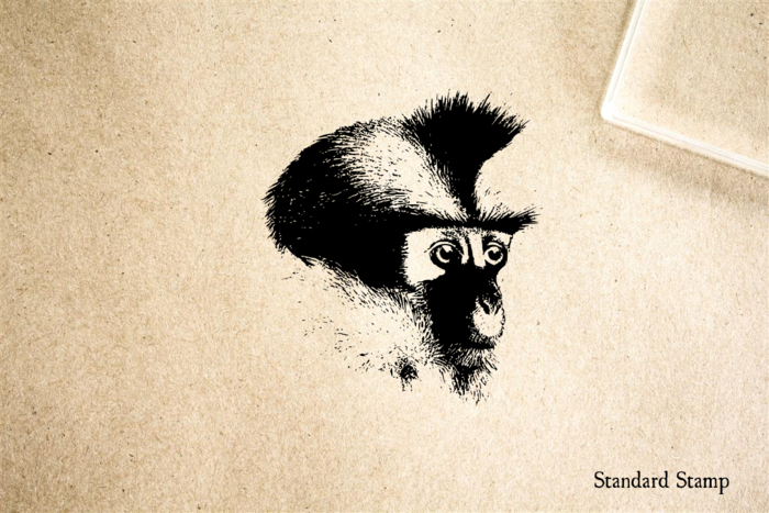 Monkey Head Rubber Stamp