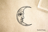 Smiling Moon Rubber Stamp