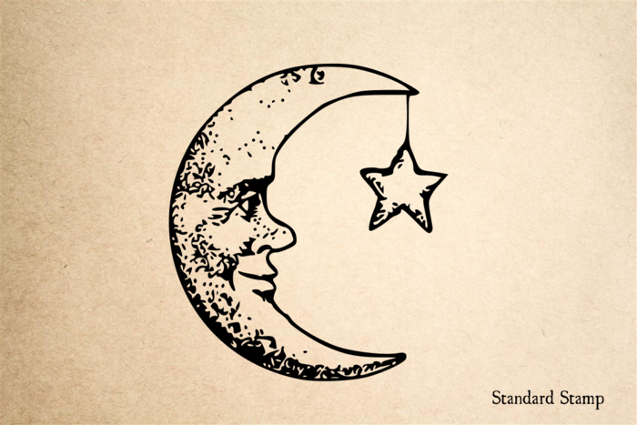 Moon Man with Star Rubber Stamp