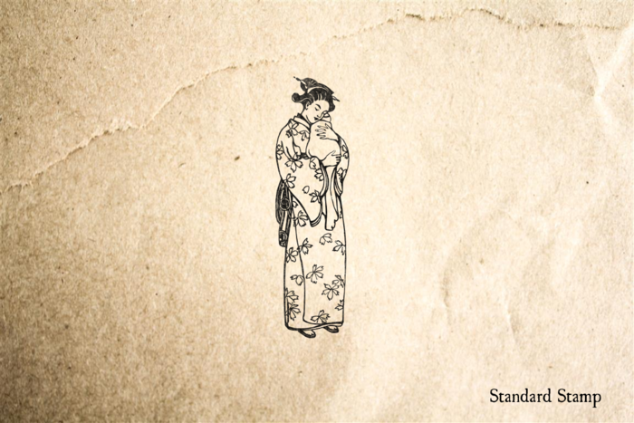 Mother in Kimono Rubber Stamp