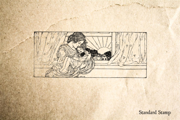 Mother with Sleeping Child Rubber Stamp