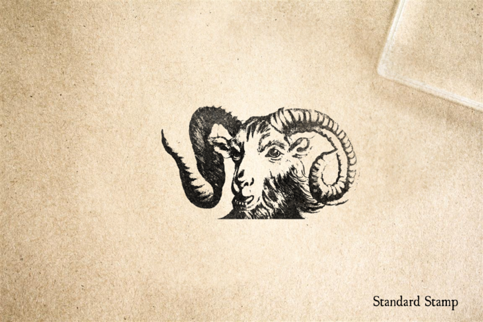 Mountain Goat Face Rubber Stamp