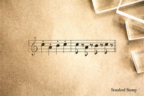 Music Treble Staff Staccato Rubber Stamp