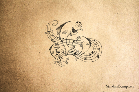 Musical Fish Rubber Stamp