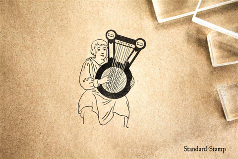 Musician with Lyre Rubber Stamp
