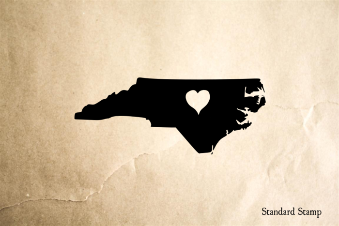 North Carolina Heart Stamp Rubber Stamp