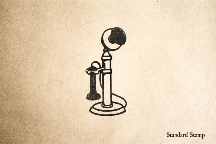 Old Fashioned Telephone with Handset Rubber Stamp