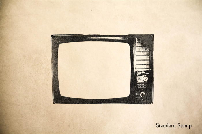 Old Television Rubber Stamp
