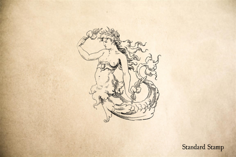 Old World Mermaid Rubber Stamp