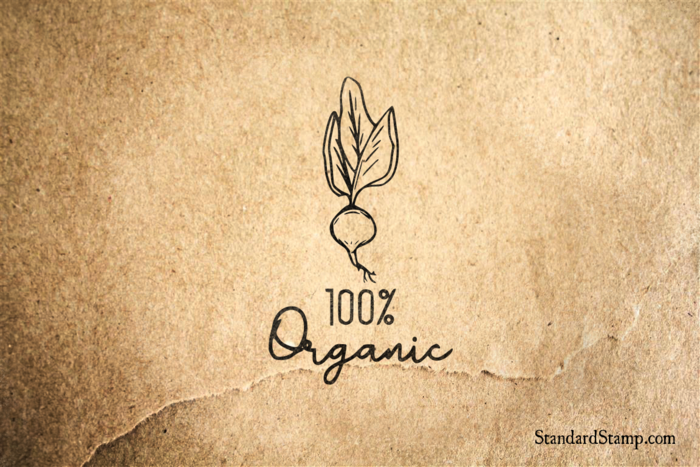 Organic Raddish Rubber Stamp