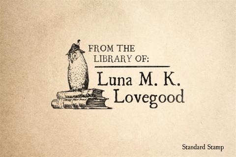 Owl Book Rubber Stamp