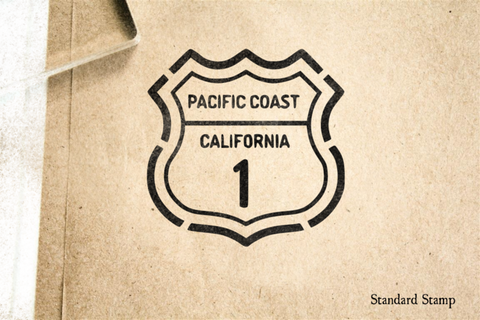 Pacific Coast Highway Sign Rubber Stamp