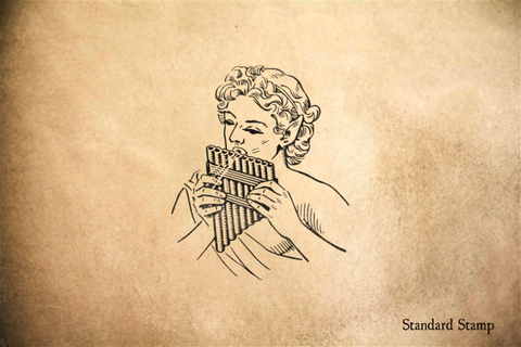 Pan Playing Pan Flute Rubber Stamp