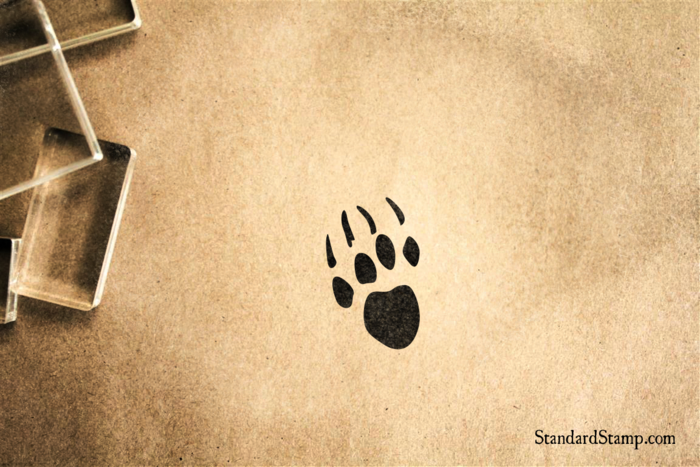 Bear Paw Print Rubber Stamp