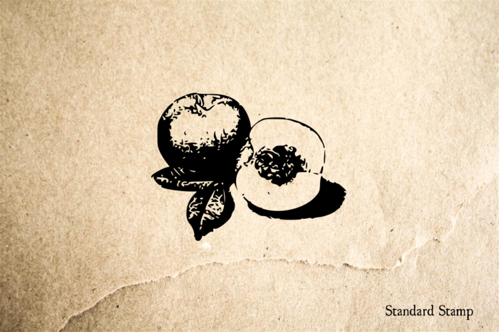 Peach Pair Sliced Rubber Stamp