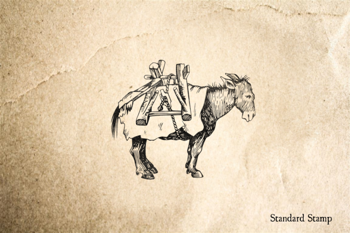 Peasant Donkey Rubber Stamp