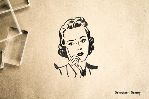 Pensive Retro Woman Rubber Stamp