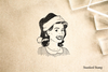 Retro Christmas Gal Rubber Stamp