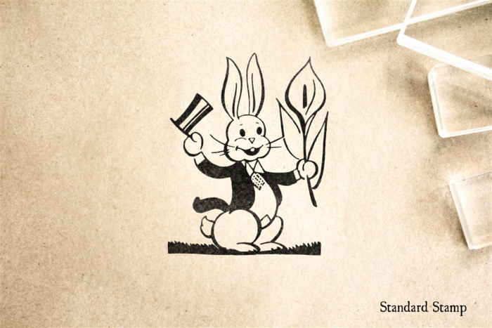 Retro Easter Bunny Rubber Stamp