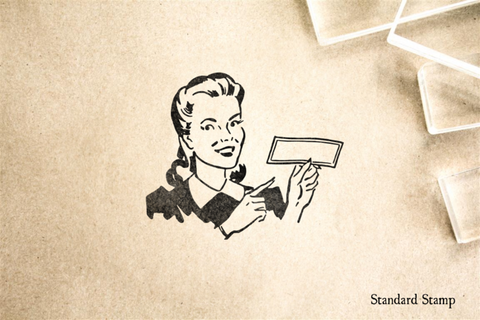 Retro Woman with Blank Check Rubber Stamp