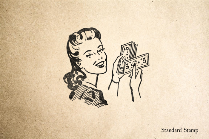 Retro Woman with Money Rubber Stamp