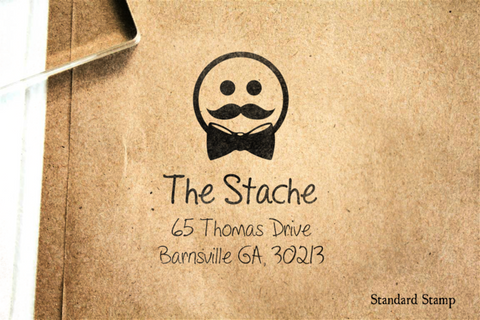 Return Address Dapper Face Rubber Stamp