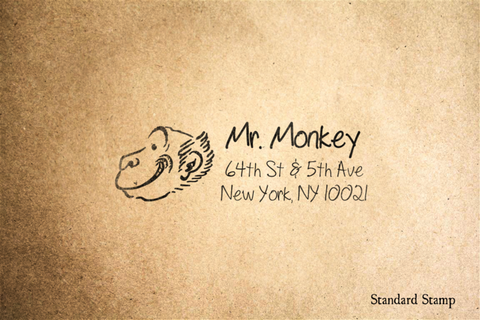Return Address Monkey Rubber Stamp