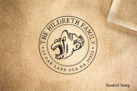 Return Address Monkey Seal Rubber Stamp
