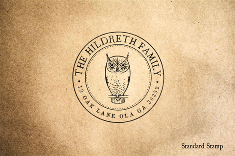 Return Address Owl Seal Rubber Stamp