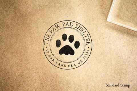 Return Address Paw Rubber Stamp