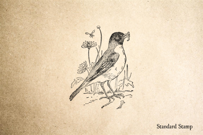 Robin with Worm Rubber Stamp