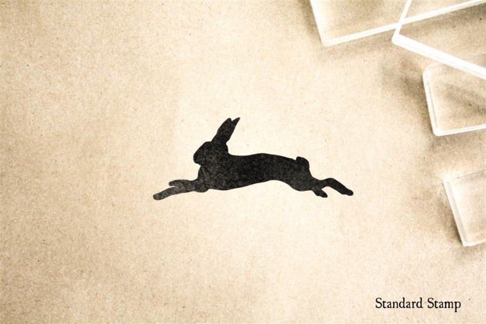 Running Bunny Silhouette Rubber Stamp