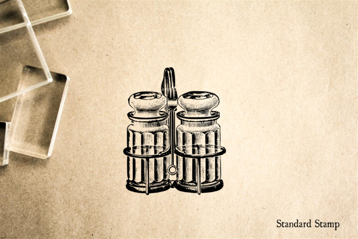 Salt and Pepper Shakers Rubber Stamp