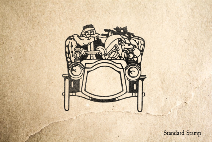 Santa in Automobile Rubber Stamp